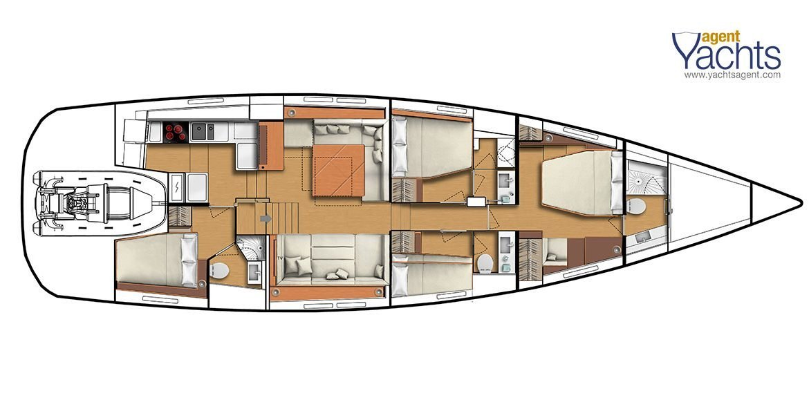 CNB66 standard layout ©CNB Yacht Builders
