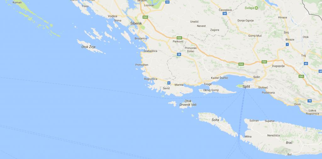 Etelä-Kroatian kartta ©Google